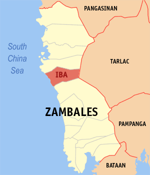 Map of Zambales showing the location of Iba