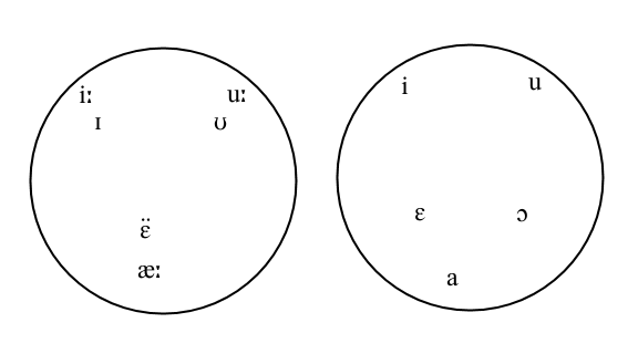 The vowels of Modern Standard Arabic and Israeli Hebrew from the phonetic point of view. Note that the two circles are totally separate none of the vowel-sounds made by speakers of one language is made by speakers of the other. One modern theory is that Israeli Hebrew's phonology reflects Yiddish elements, not Semitic ones.