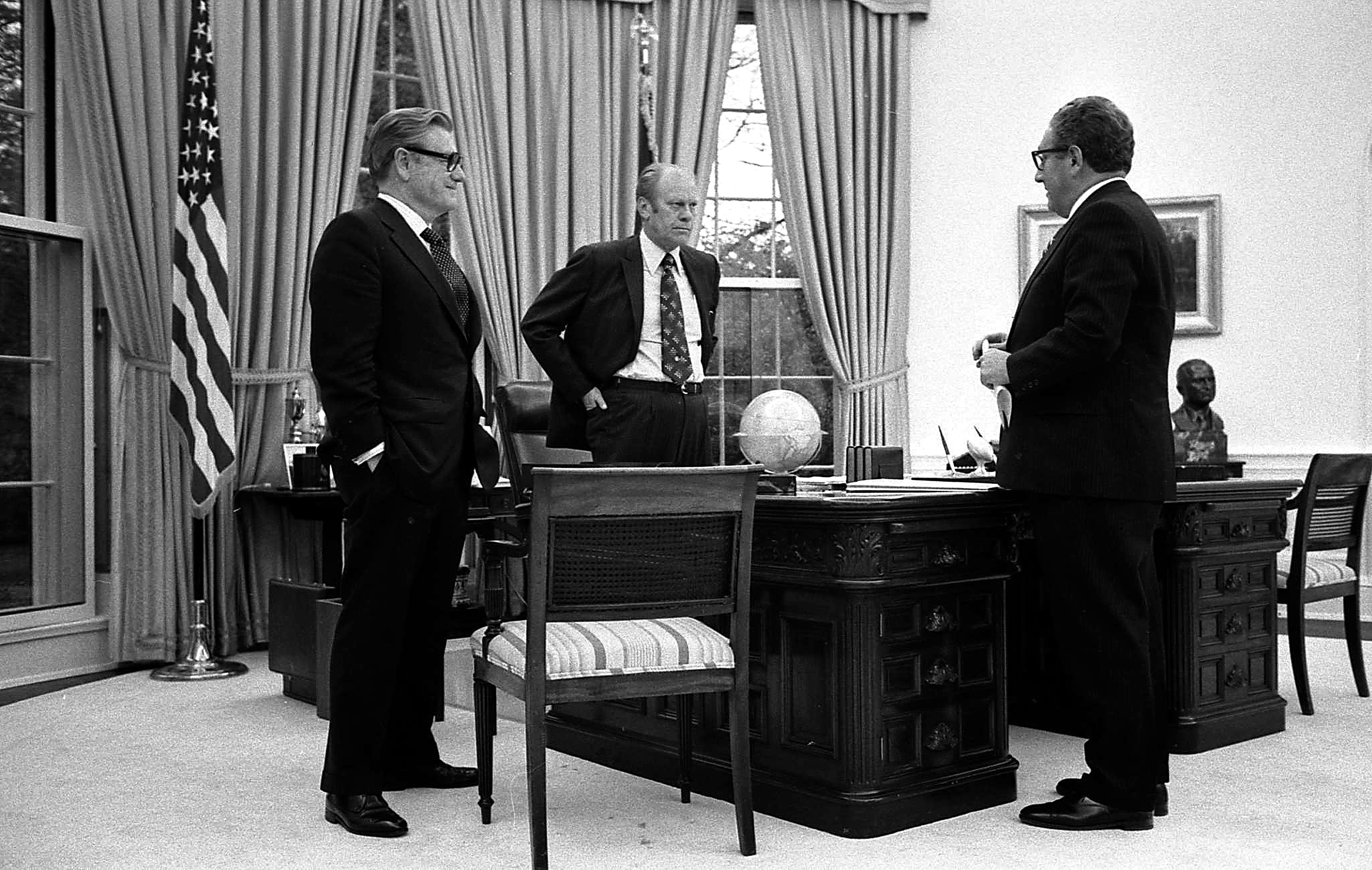 File President Ford Meets With Kissinger And Vice