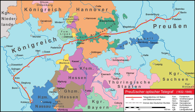 """Landkarte, auf der der Verlauf der Telegrafenlinie """"Preußischer optischer Telegraf"""" zwischen Berlin und Koblenz eingezeichnet ist"""