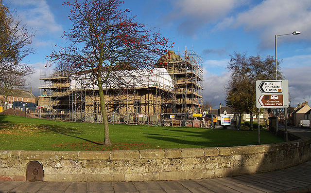 Renovation work at Greenlaw Town Hall - geograph.org.uk - 1567480.jpg English: Renovation work at Greenlaw Town Hall. The hall was built between