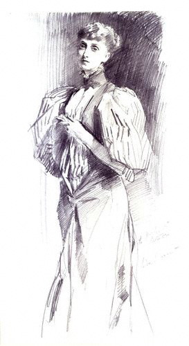 Meynell by John Singer Sargent, pencil, 1894[1]