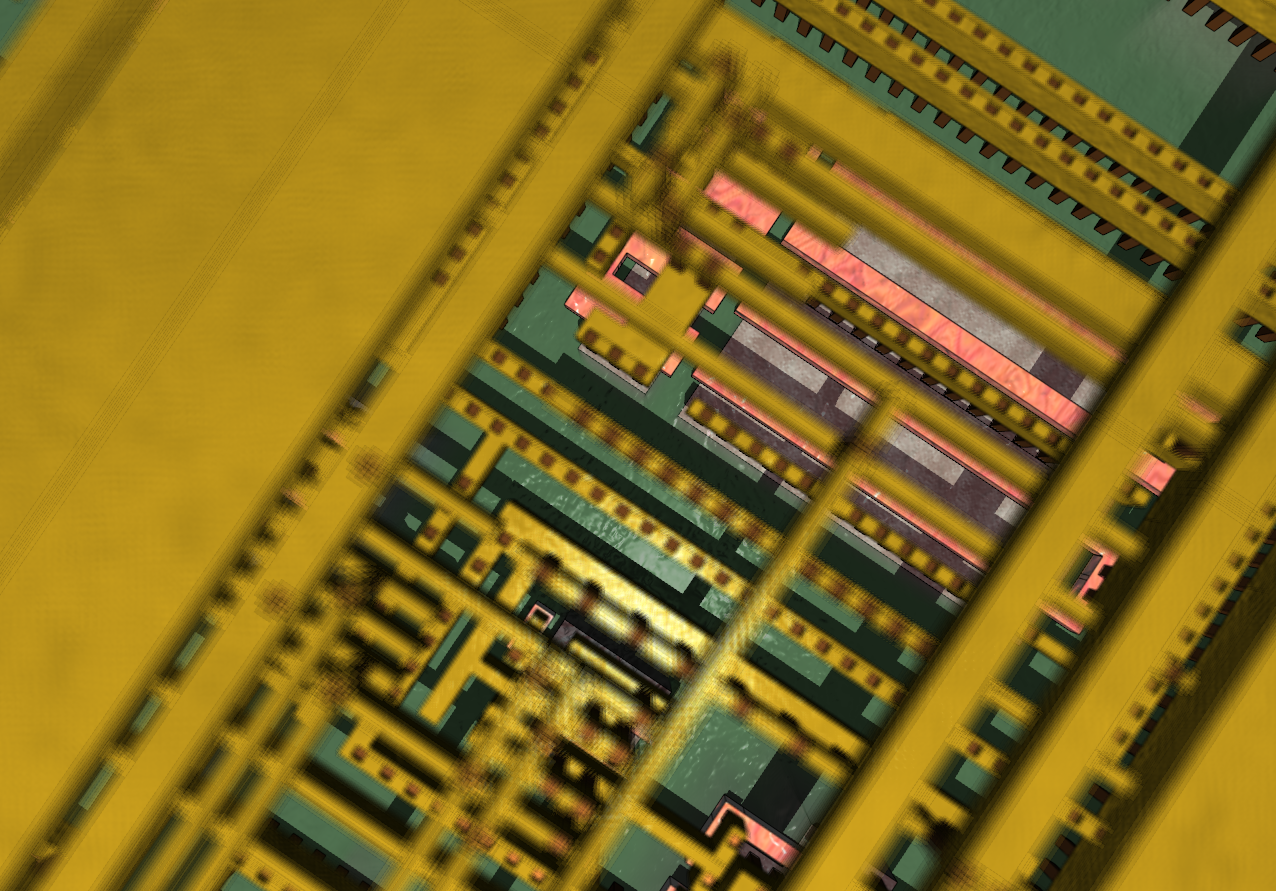 Synthetic detail of an integrated circuit through four layers of planarized copper interconnect, down to the polysilicon (pink), wells (greyish), and substrate (green)