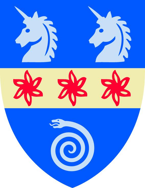 Våpenskjold for St. Hilda's College i Oxford, med en sammenrullet slange. Ammonitten brukes som symbol av kollegiet