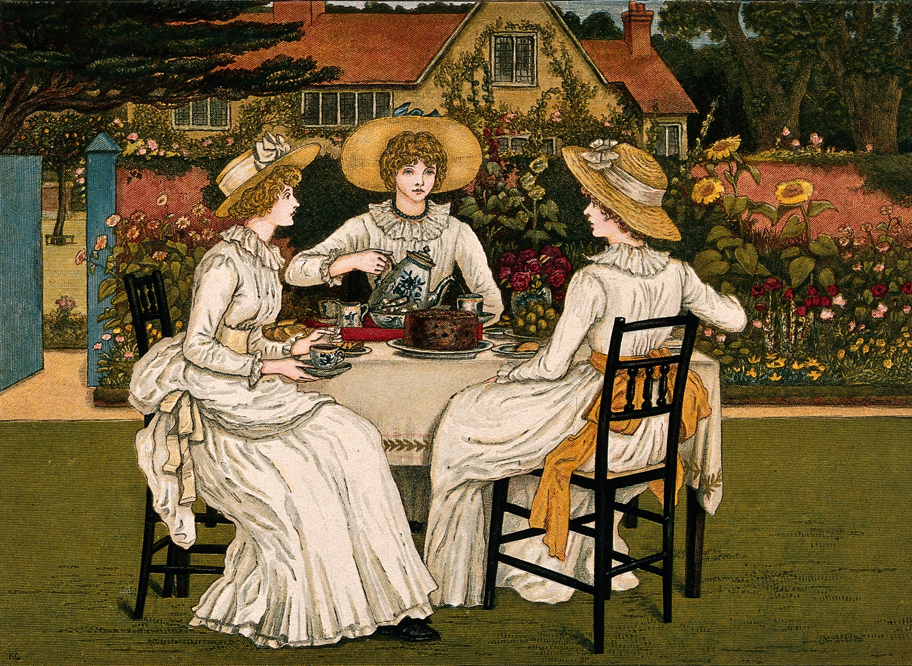 File:Three young woman are sitting at table in a garden having ...