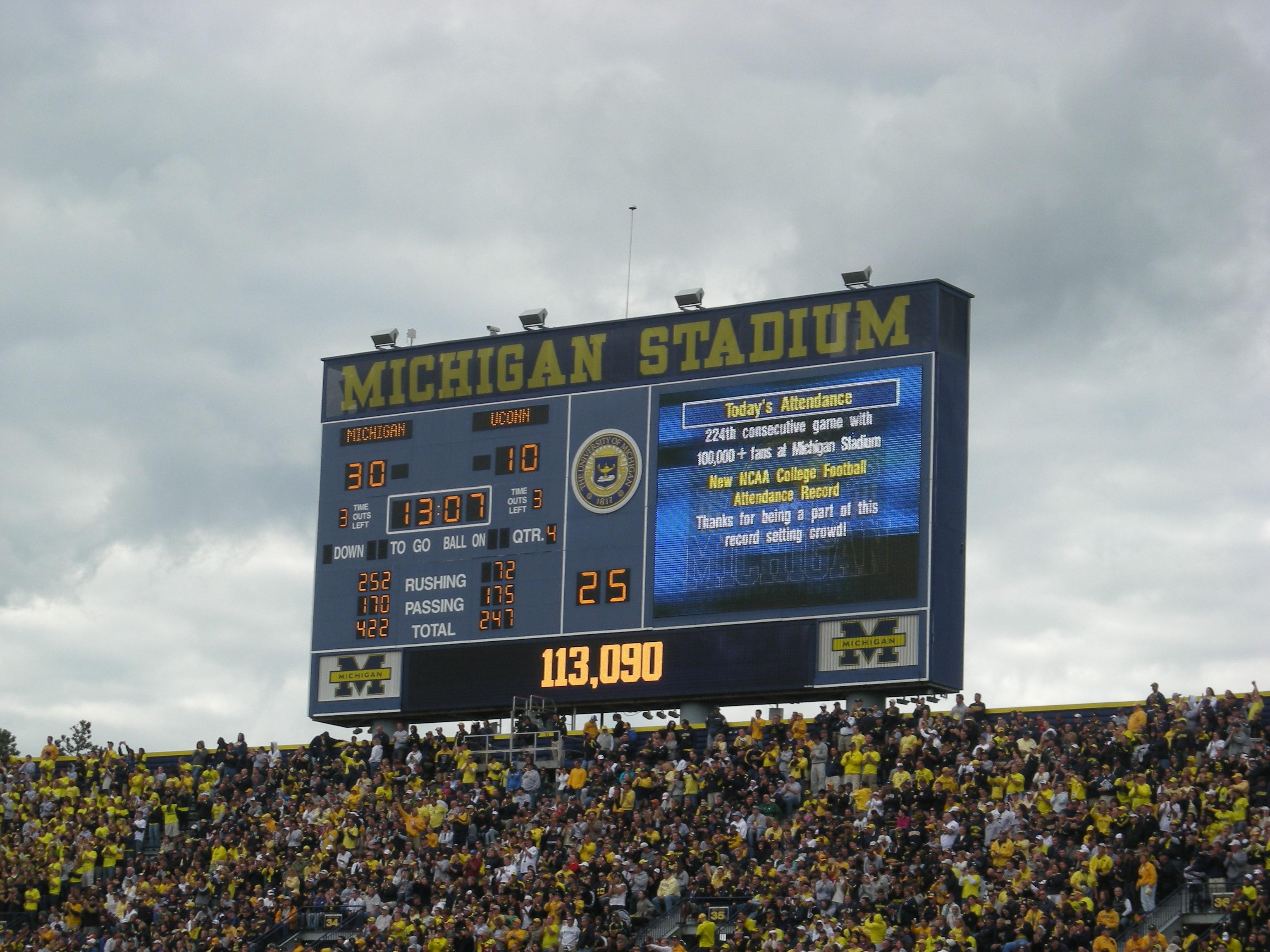 New Michigan Stadium Scoreboard