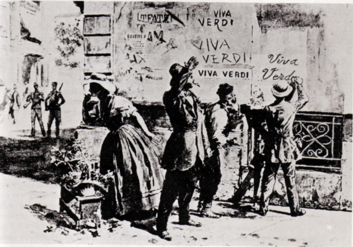 La palabra VERDI, significando «Vittorio Emmanuele Re D'Italia» se usó en la época como acrónimo político clandestino a favor de la unificación italiana.