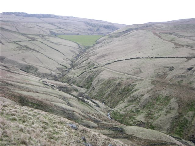 Valley up to the Scout Moor Reservoir - geograph.org.uk - 373585