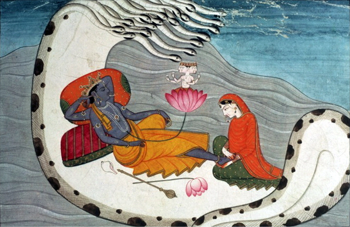 Vishnu and Lakshmi on Shesha Naga, ca 1870