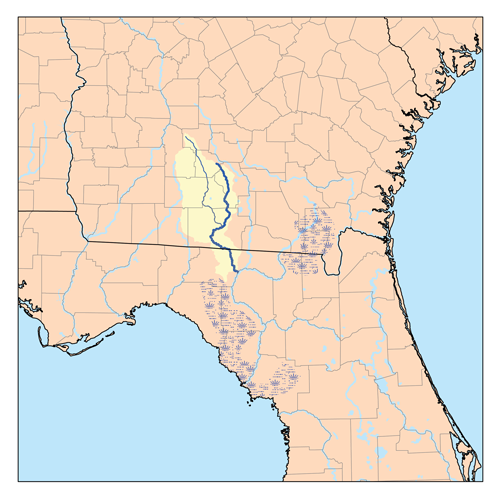 Map Of Georgia And Florida.Withlacoochee River Suwannee River Tributary Wikipedia