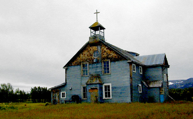 Abandoned church at Pilgrim Hot Springs
