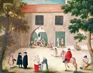 Distributing alms to the poor, abbey of Port-Royal des Champs c. 1710. Abbey of Port-Royal, Distributing Alms to the Poor by Louise-Magdeleine Hortemels c. 1710.jpg