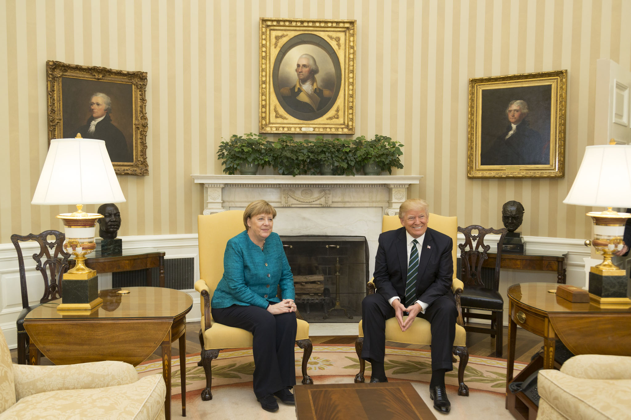File angela merkel and donald trump in the oval office Oval office decor by president