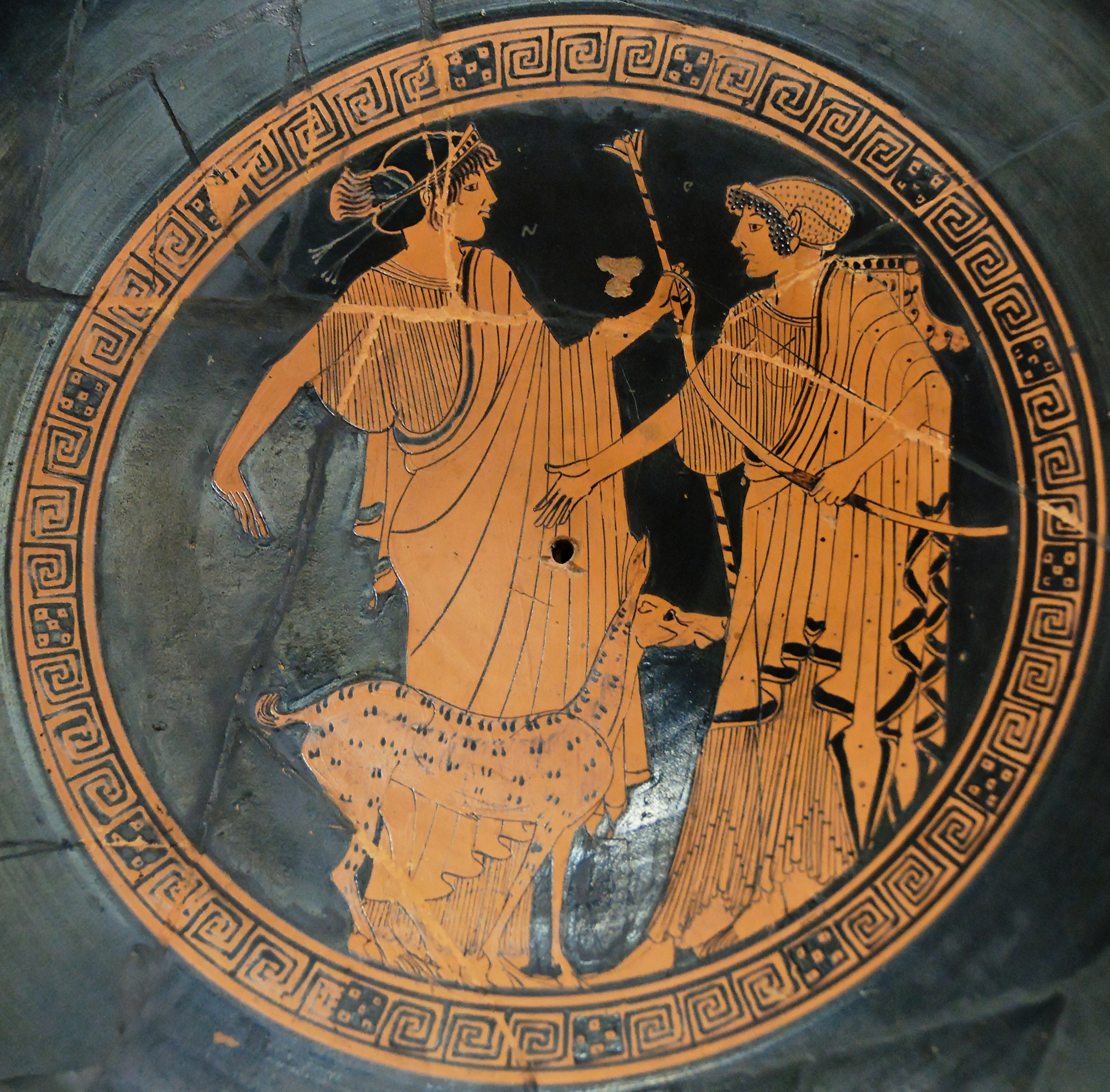 Apollo and Artemis. Tondo of an Attic red-figure cup.