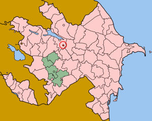 Map of Azerbaijan showing Yevlax sahar