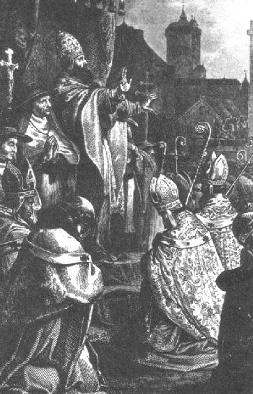 Pope Urban II preaching the First Crusade at the Council of Clermont B Urban II2.jpg