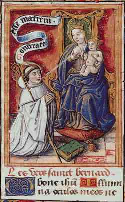 Bernard receiving milk from the breast of the Virgin Mary. The scene is a legend which allegedly took place at Speyer Cathedral in 1146. BernhardClairvaux Lactatio SourceUnknown.jpg