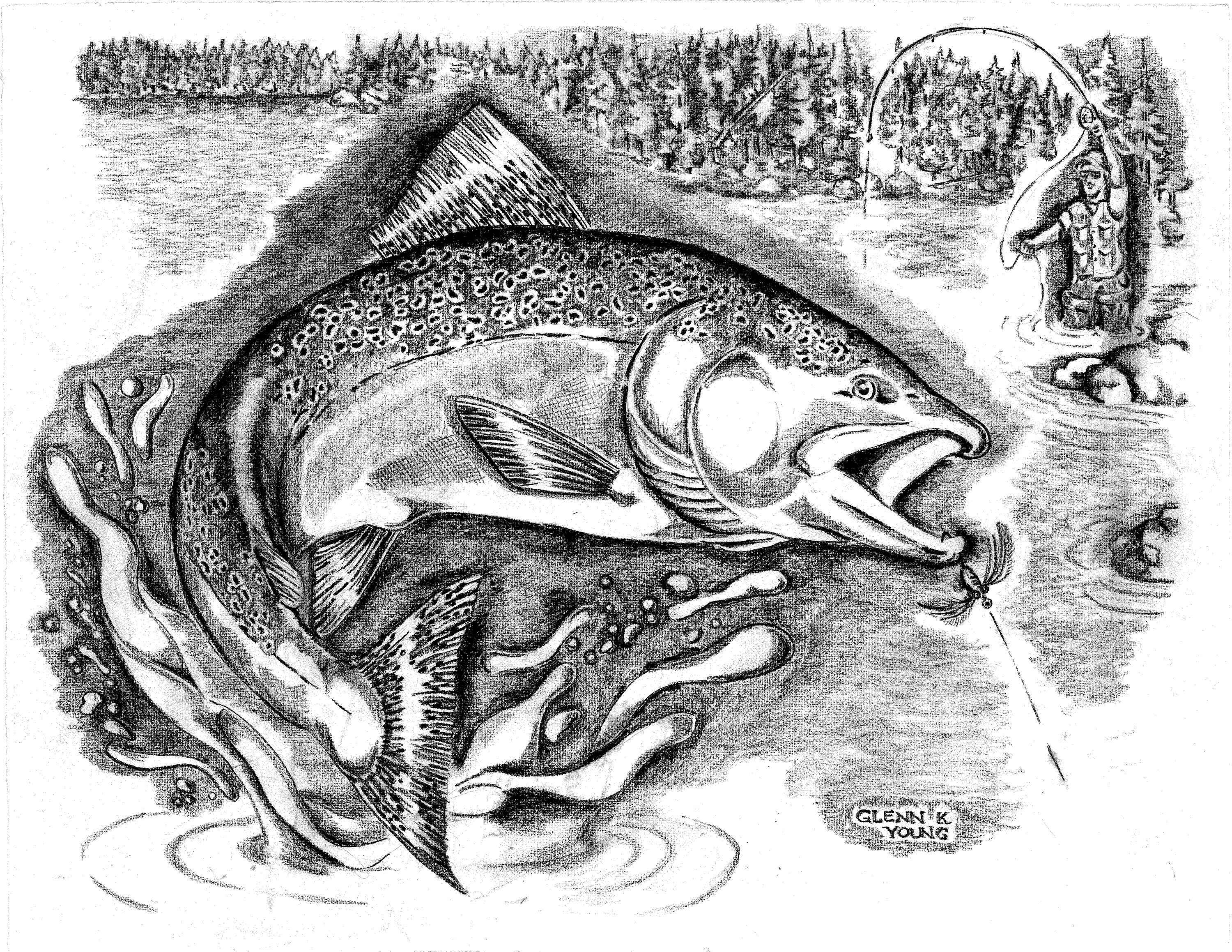 Black and white illustration of a fisherman in the fishing art photo