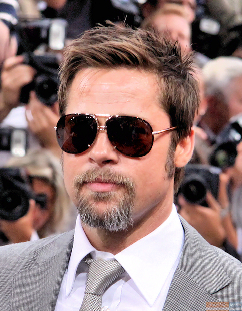 A Caucasian male, who is wearing aviator sunglasses, has light brown hair and a short brown beard. He wears a grey suit jacket, white shirt, and grey tie. Behind him are people with single-lens reflex cameras.