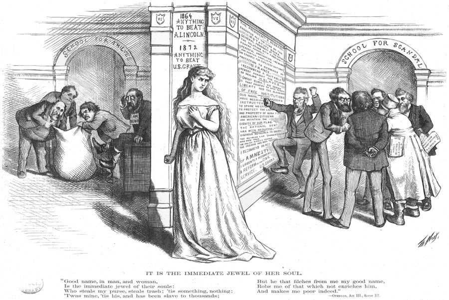 Columbia between thieves and scandal (Nast cartoon, 1872)