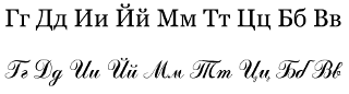 Letters Ge, De, I, I kratkoye, Em, Te, Tse, Be and Ve in upright (printed) and cursive (handwritten) variants. (Top is set in Georgia font, bottom in Odessa Script.)