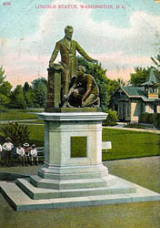 "A postcard captioned ""Lincoln Statue"" depicts the Emancipation Memorial circa 1900."
