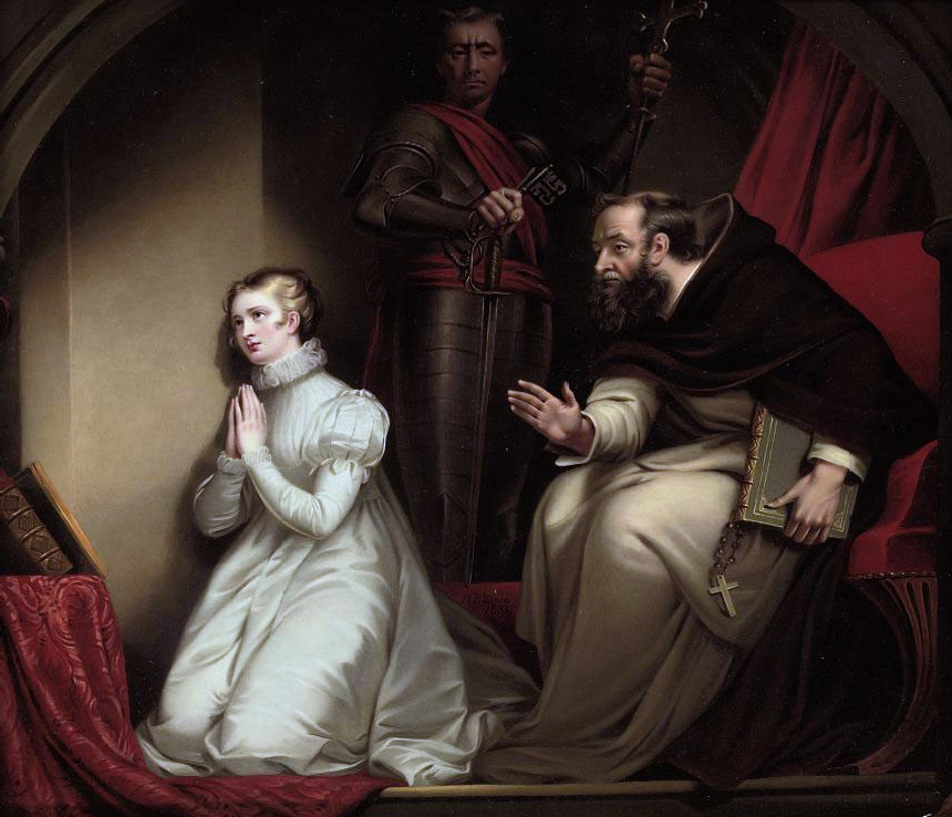 Fecknam's interview with Lady Jane Grey in the Tower by Henry Pierce Bone after James Northcote.jpg