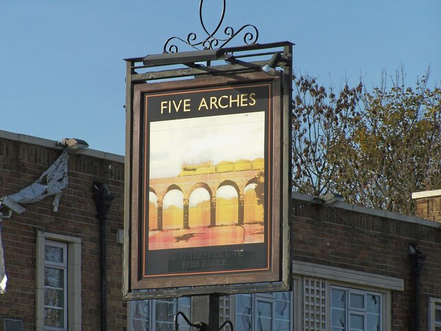 Five Arches Pub Sign, Herries Road, Sheffield - geograph.org.uk - 1079527
