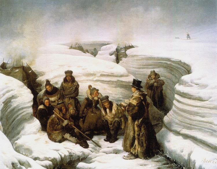 «Læstadius preiker for samane» (Le Pasteur Læstadius instruisant les Lapons) frå 1840 er måla av François-Auguste Biard (1799–1882). Biard deltok i La Recherche-ekspedisjonen 1838-1840 og besøkte blant anna Svalbard, Hammerfest og Læstadius i Karesuando.