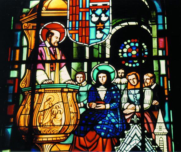 Den hellige Frans av Sales møter den hellige Johanna Fransiska av Chantal, utsnitt fra et glassmaleri i basilikaen i Annecy