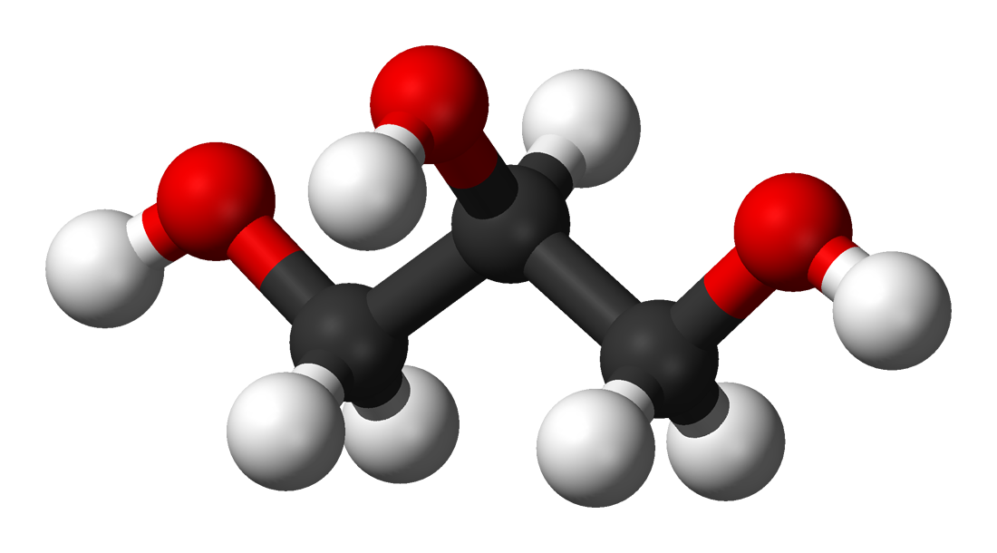 Ball-and-stick model of glycerol