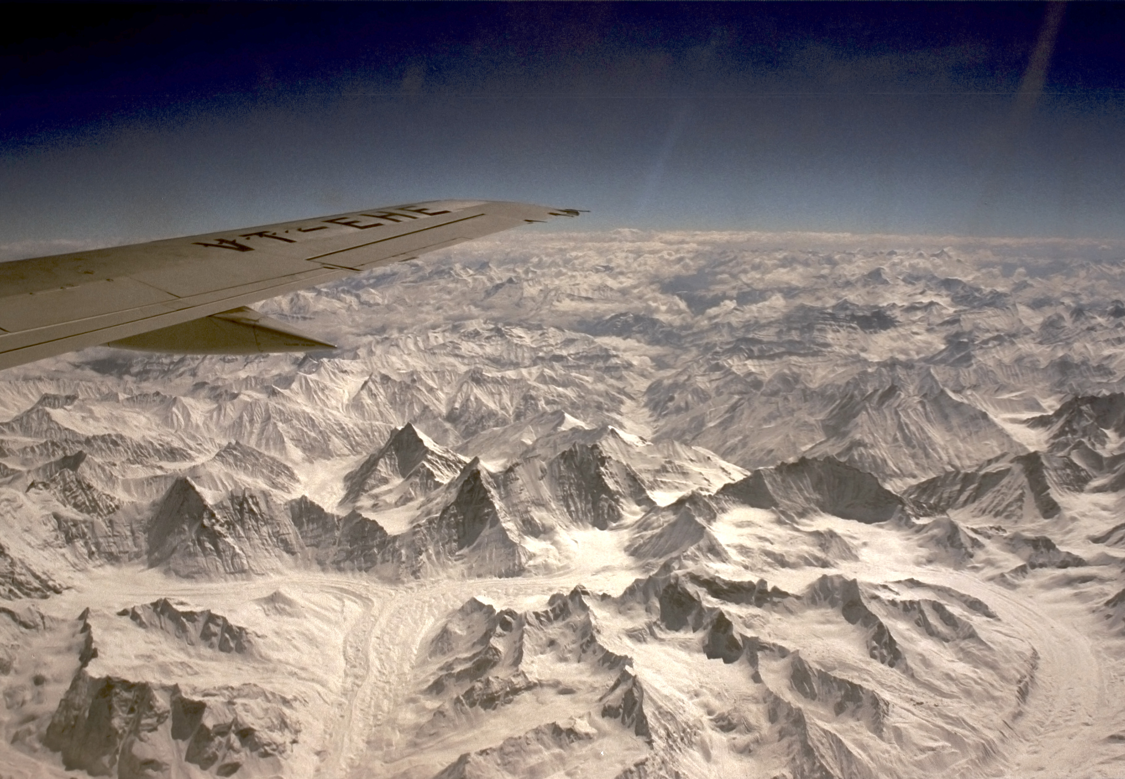 Glaciers near K2 in the Xinjiang, China and Pakistan.