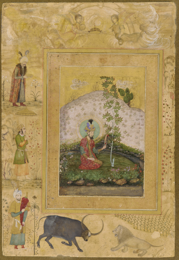 An image from an album commissioned by Shah Jahan shows Humayun sitting beneath a tree in his garden in India.