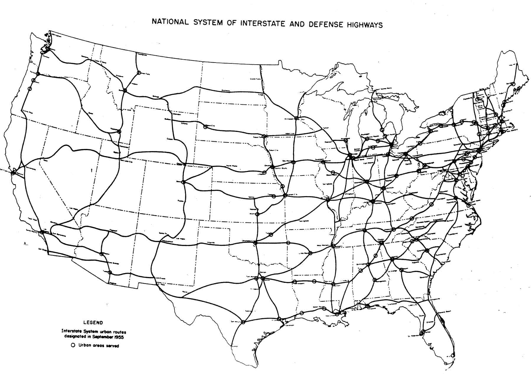 Original Plan For The Interstate Highway System September - Us interstate map with cities