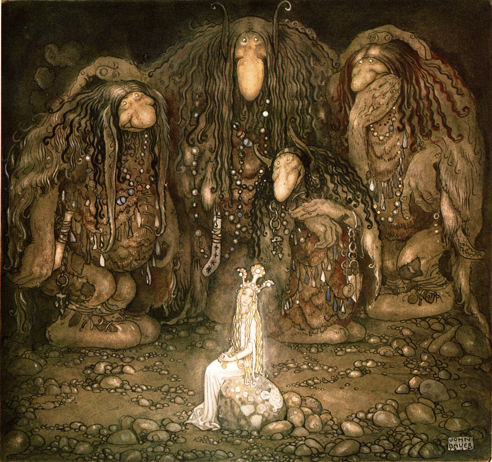 Illustration Of Three Trolls Surrounding A Princess In Dark Area As Adapted From