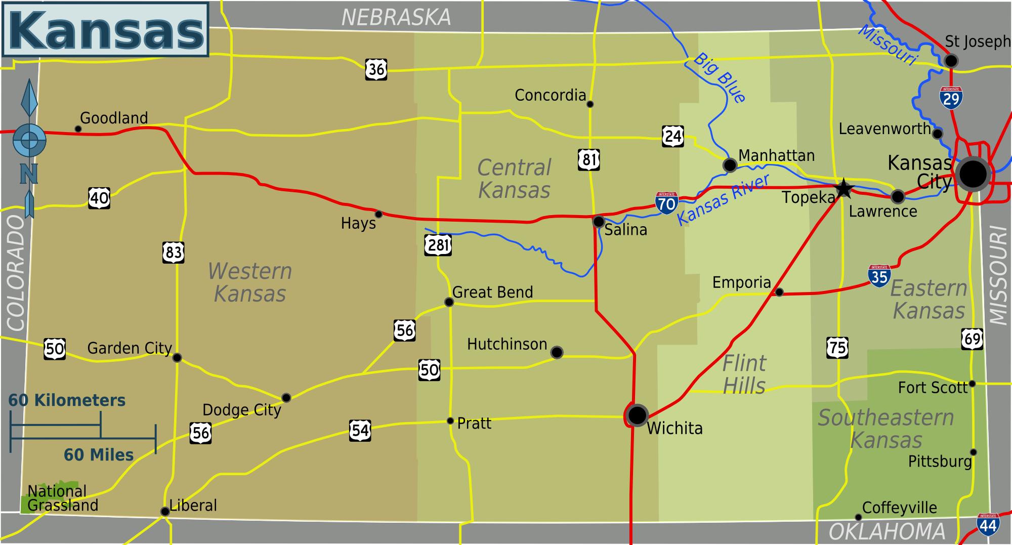 File Kansas Regions Map Png Travel Guide At Wikivoyage