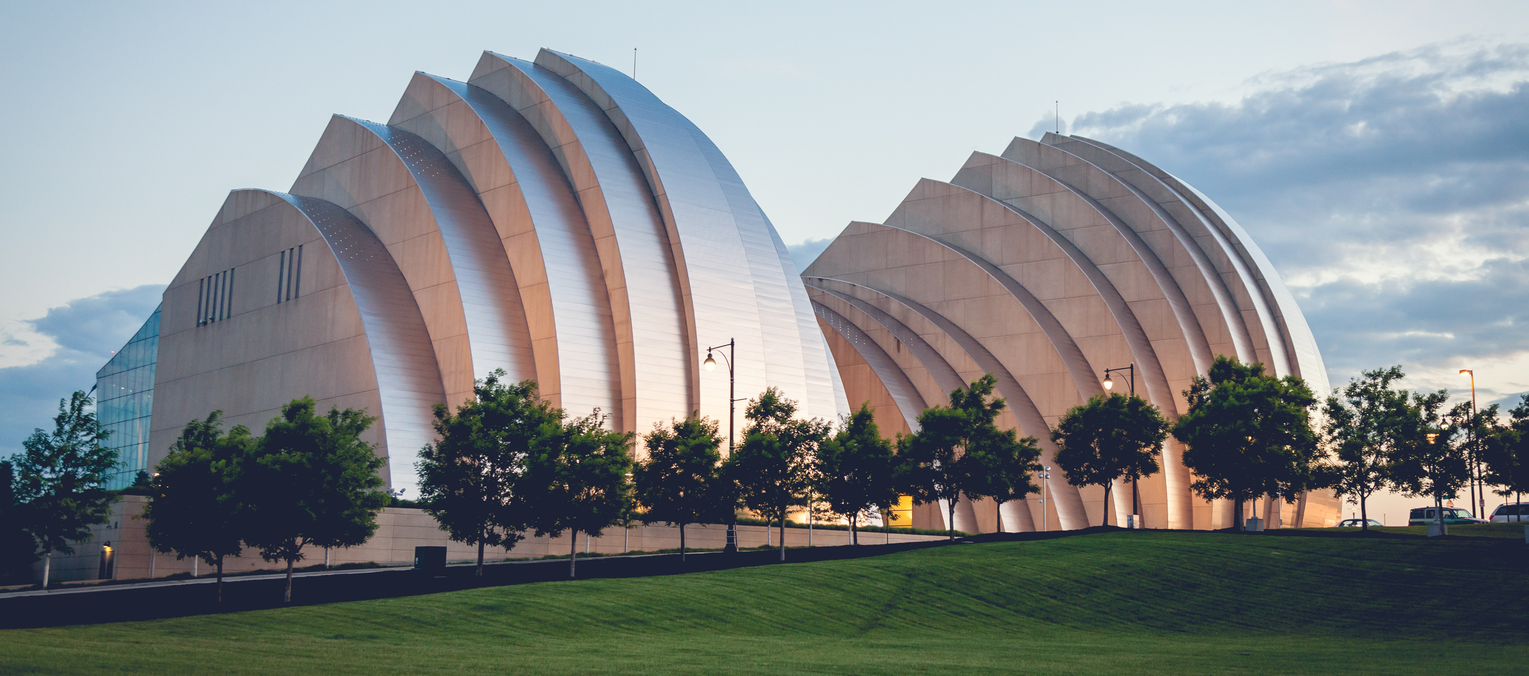 A photograph of the Kauffman Center for the Performing Arts, in Kansas City, Missouri.