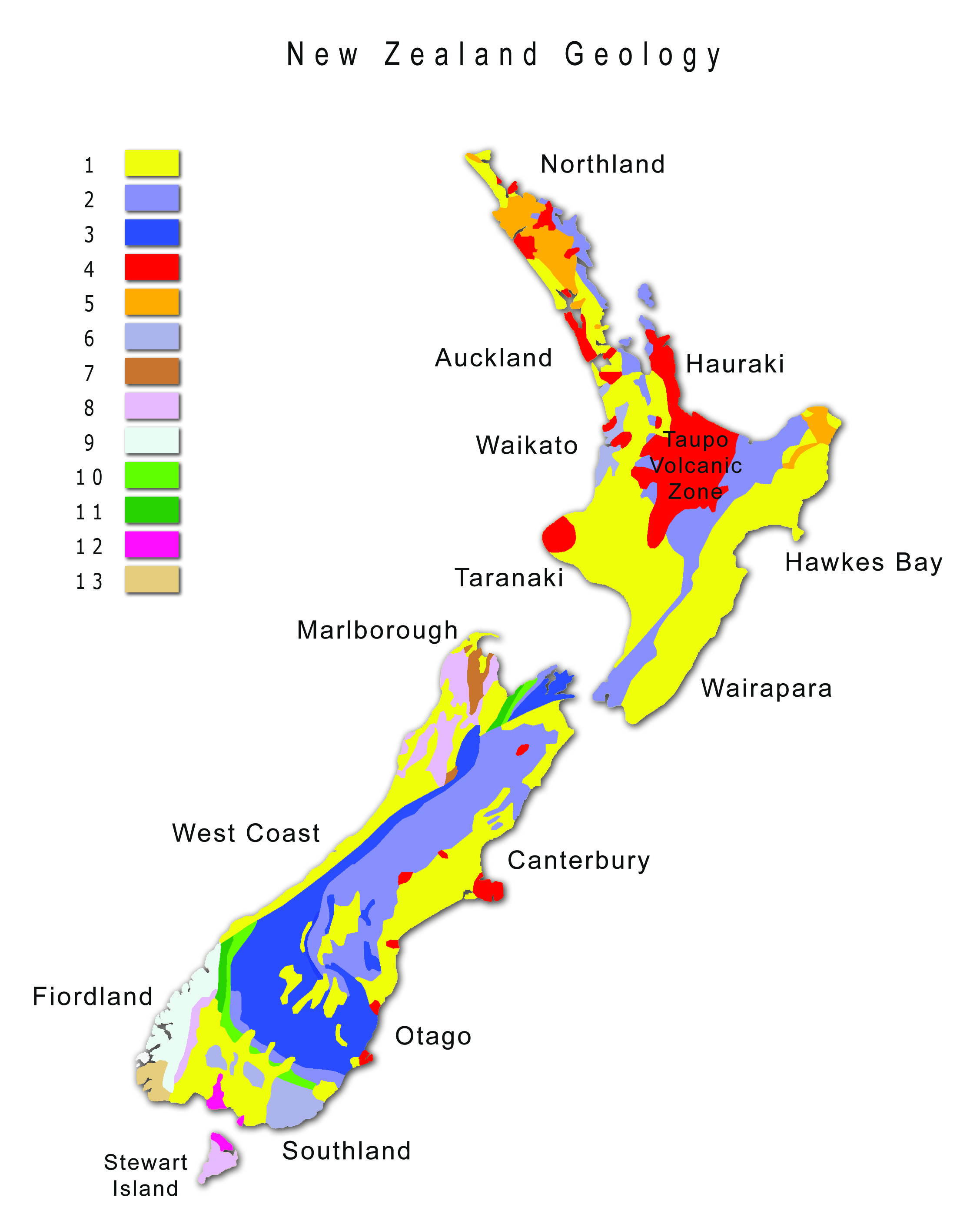 geography blog geological map of new zealand