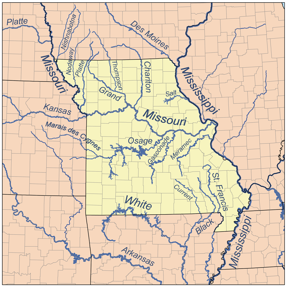 List Of Rivers Of Missouri Wikipedia - Missouri on a us map