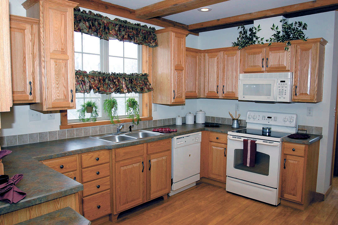 Country Kitchen With Red Cabinets