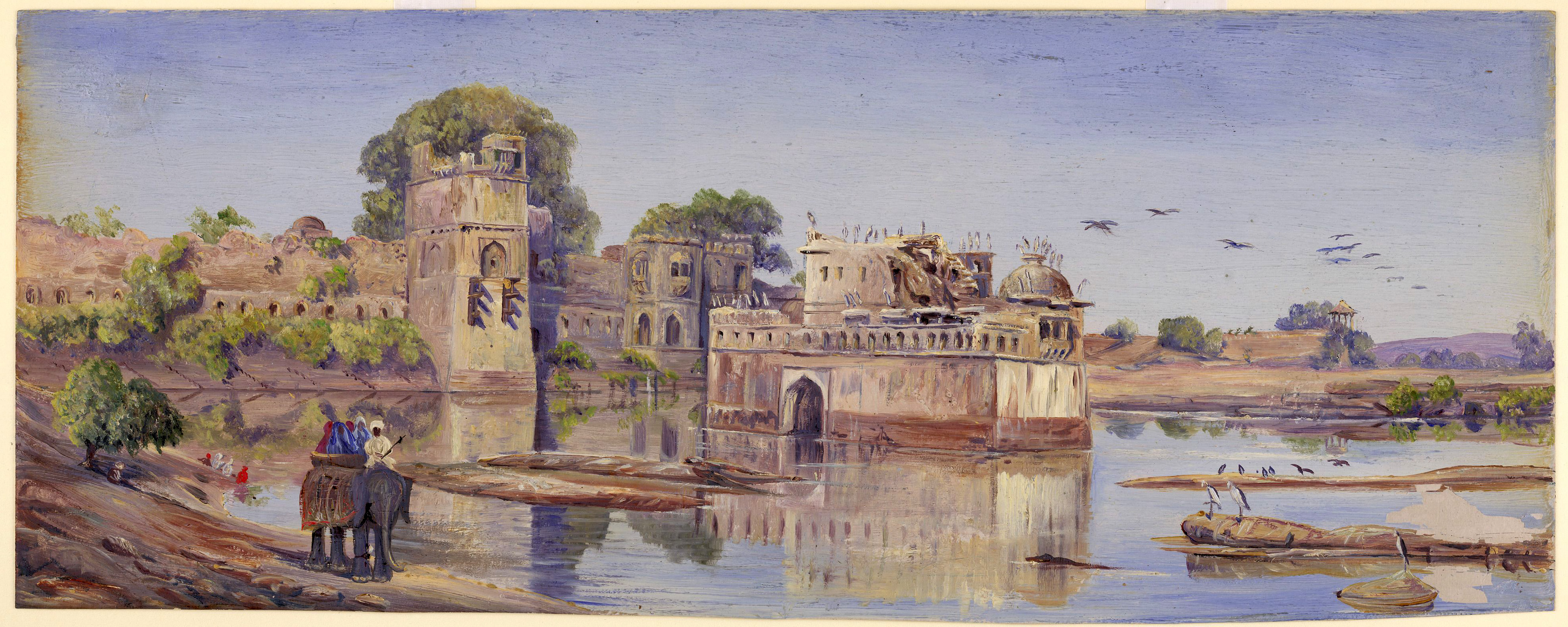 File Oil painting of Padmini's palace in the fort in the midst of the  tank.jpg ca9ecc2eb522