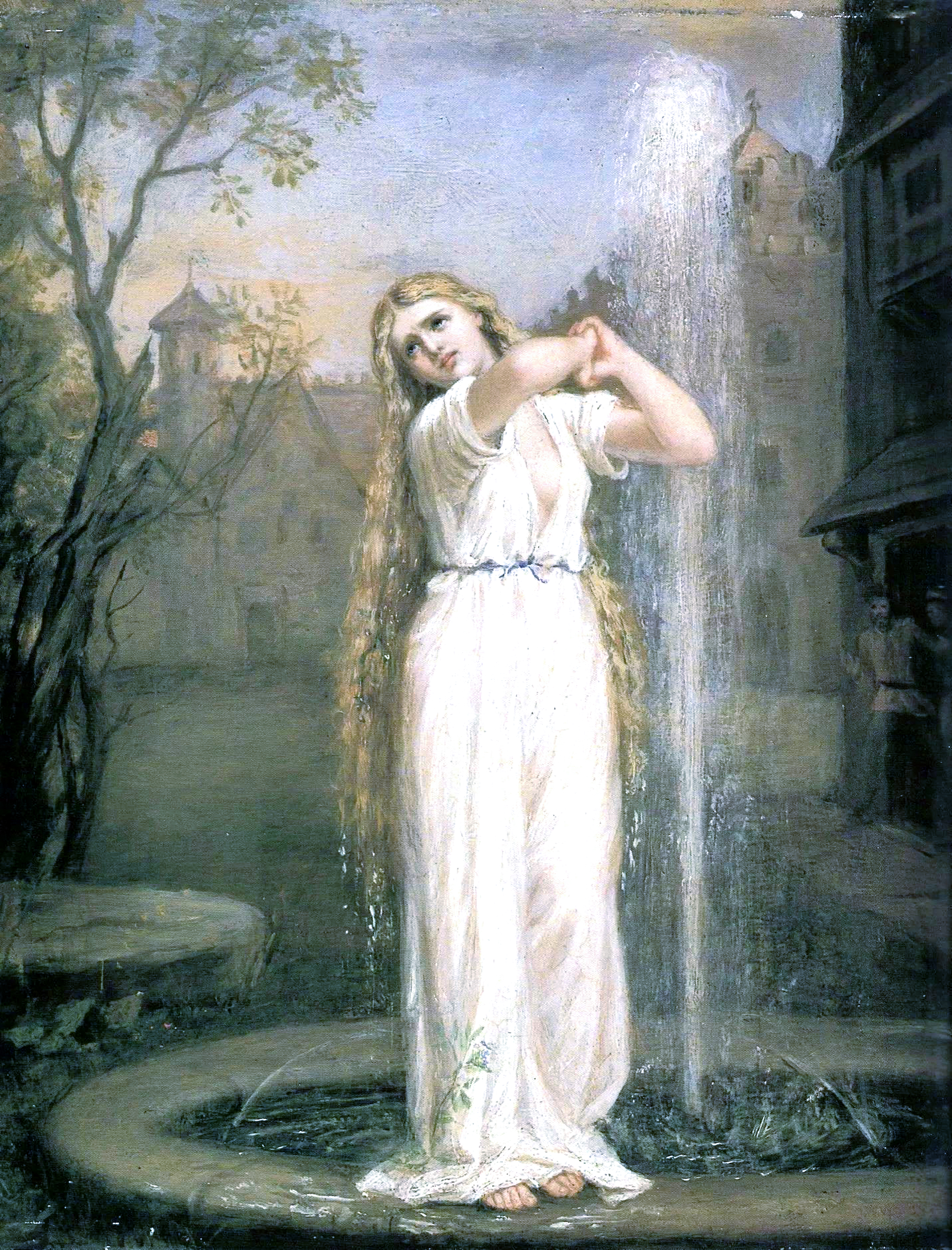 artwork, woman standing on edge of fountain