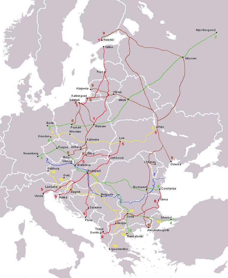 zeleznicka karta evrope Panevropski koridori — Википедија, слободна енциклопедија zeleznicka karta evrope
