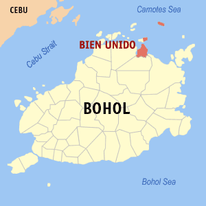 Map of Bohol showing the location of Bien Unido