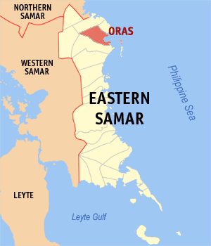 Map of Eastern Samar showing the location of Oras