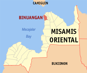 Map of Misamis Oriental showing the location of Binuangan