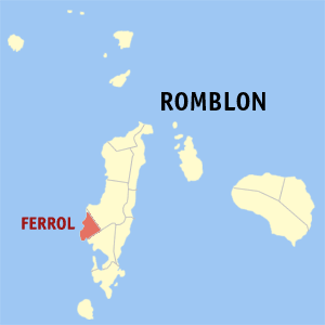 Map of Romblon showing the location of Ferrol