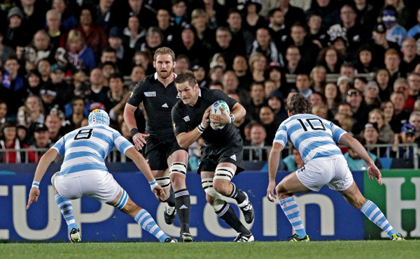 New Zealand beat Argentina in the quarter-finals on the way to winning the 2011 Rugby World Cup