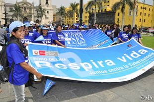 Socios En Salud staff at a rally in Lima, Peru, in early 2011.