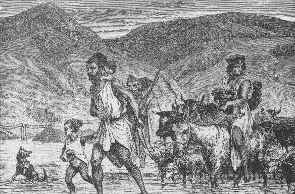 """Berber Family Crossing a Ford - Scene in Algeria"". From: Stanley and the White Heroes in Africa (etc.) (H. B. Scammel, 1890."